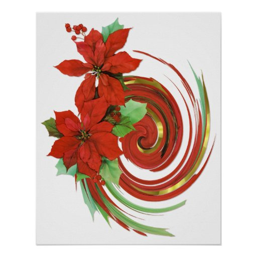 Poinsettia Swirl Posters