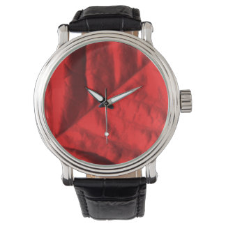 Poinsettia Vintage Leather Strap Watch