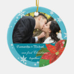 Poinsettia Wedding Couple's First Christmas Gift Christmas Ornaments