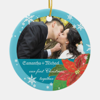 Poinsettia Wedding Couple's First Christmas Gift Christmas Ornaments