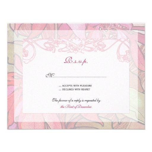 Poinsettia Wedding Invitation Rsvp Response Cards 425 X 55 Invitation Card
