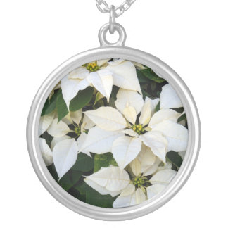 Poinsettia White Silver Plated Necklace