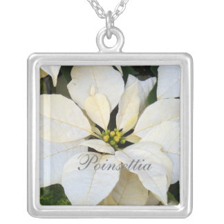 Poinsettia White Square Pendant Necklace