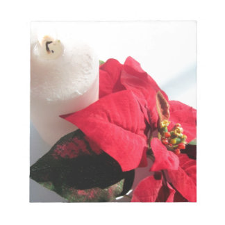 Poinsettia with Candle Notepad