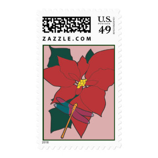 Poinsettia with Dragonfly on red Stamps