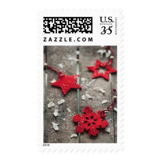 Poinsettia with snowflakes postage