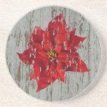 Poinsettia & Wood Coaster