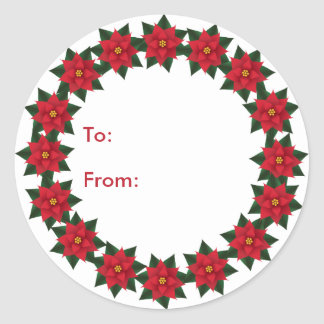 Poinsettia Wreath Gift Tags