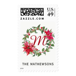 Poinsettia Wreath Monogram Postage Stamps