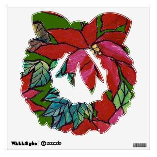 Poinsettia wreath wall decal