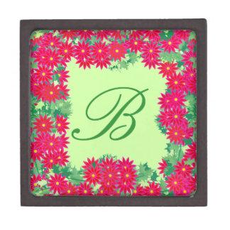 Poinsettia Wreath with Monogram, Red and Green Premium Keepsake Boxes