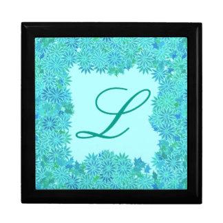 Poinsettia Wreath with Monogram, Turquoise Gift Boxes
