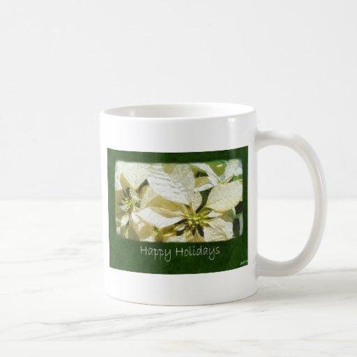 Poinsettias amarillos 2 - buenas fiestas taza de café