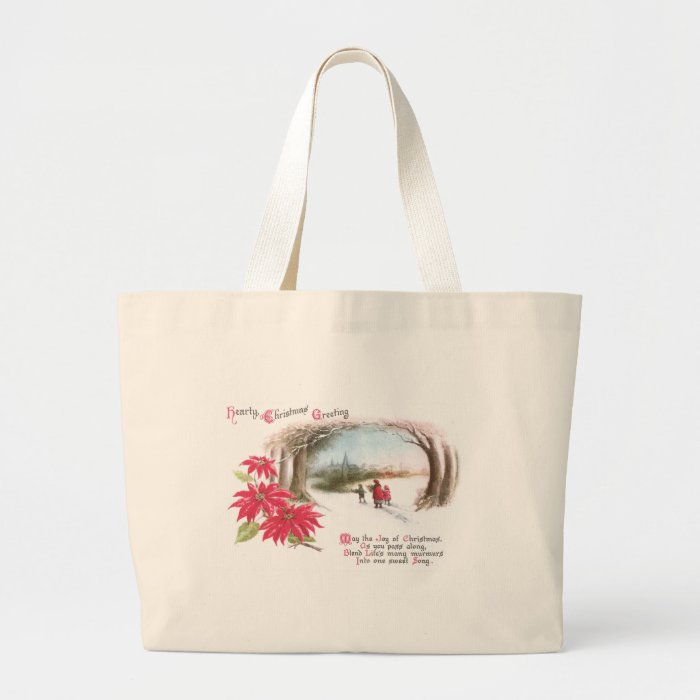 Poinsettias and Arch of Trees Vintage Christmas Large Tote Bag
