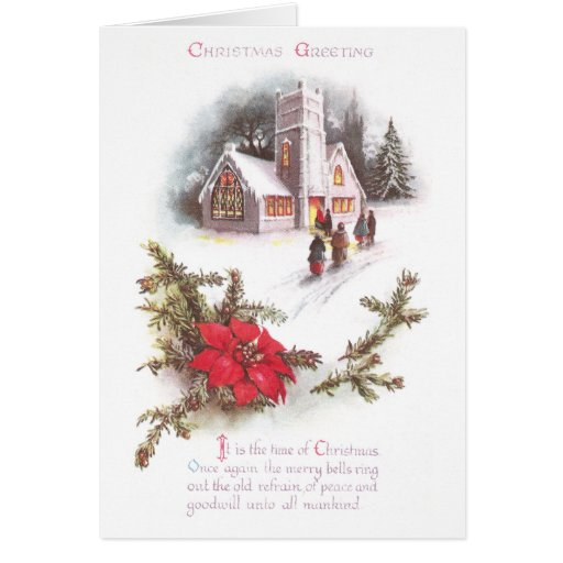 Poinsettias and Country Church Vintage Christmas Greeting Cards