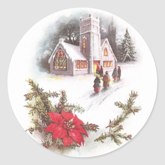 Poinsettias and Country Church Vintage Christmas Classic Round Sticker