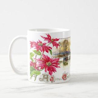 Poinsettias and Country Vignette Vintage Xmas Coffee Mugs