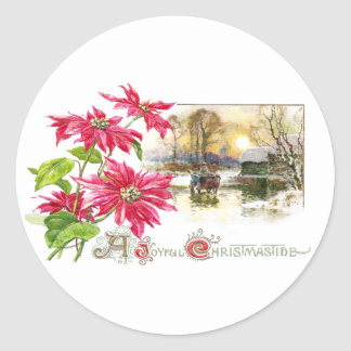 Poinsettias and Country Vignette Vintage Xmas Round Stickers