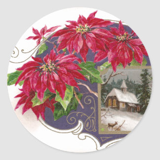 Poinsettias and Moonlit Night Vintage Christmas Classic Round Sticker