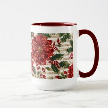 Christmas Themed Poinsettias and Music Christmas Mug