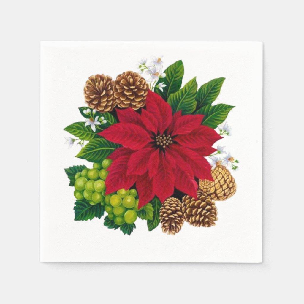 Poinsettias  and Pine Cones Napkin