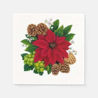 Poinsettias  and Pine Cones Napkin
