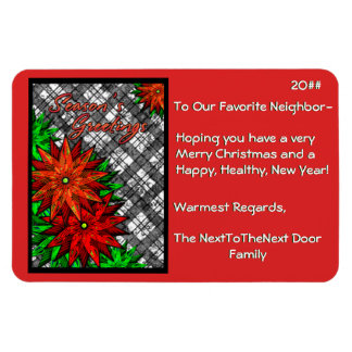 Poinsettias and Plaid (Magnetic Christmas Card) Vinyl Magnets