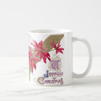 Poinsettias and Shivery Vignette Vintage Christmas Mugs