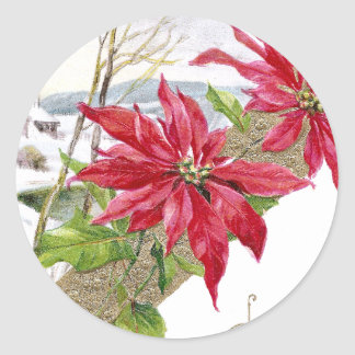 Poinsettias and Shivery Vignette Vintage Christmas Round Stickers
