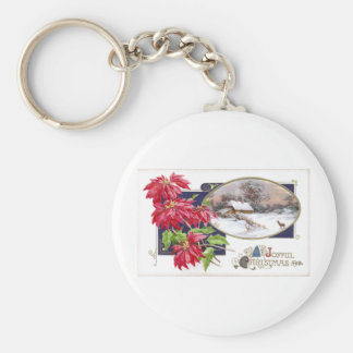 Poinsettias and Snowy Vignette Vintage Christmas Keychain