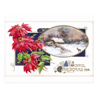 Poinsettias and Snowy Vignette Vintage Christmas Post Cards