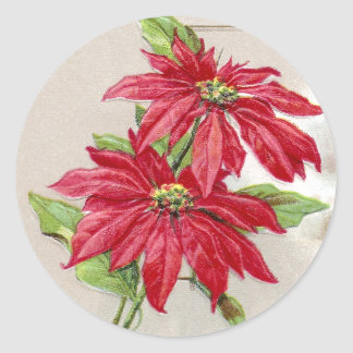 Poinsettias and Wintry Vignette Vintage Christmas Classic Round Sticker