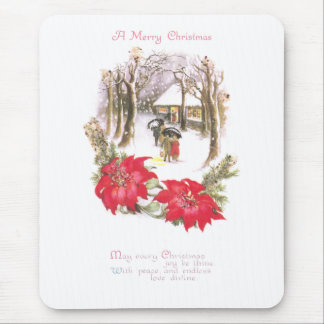 Poinsettias and Woodsy Scene Vintage Christmas Mouse Pad