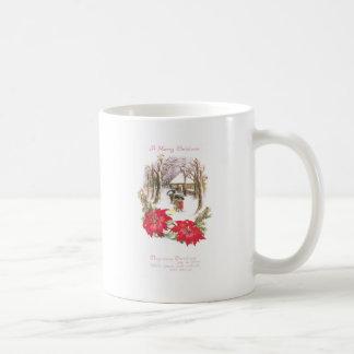 Poinsettias and Woodsy Scene Vintage Christmas Coffee Mugs