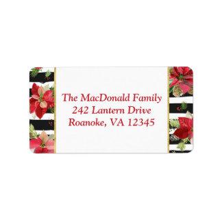 Poinsettias, Black, White Stripes Address Label 2