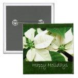 Poinsettias blancos 1 - buenas fiestas pin cuadrado