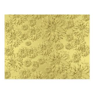 Poinsettias de oro del navidad en el papel de la h postal