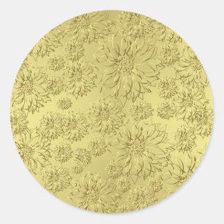 Poinsettias de oro del navidad en el papel de la pegatinas redondas