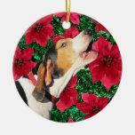 Poinsettias del Coonhound del caminante de Treeing Adorno Navideño Redondo De Cerámica
