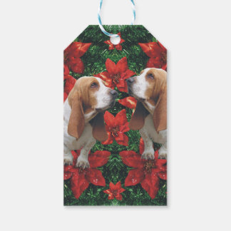 Poinsettias del navidad de Basset Hound Etiquetas Para Regalos