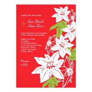 Poinsettias del navidad rojos que casan la invit anuncio personalizado
