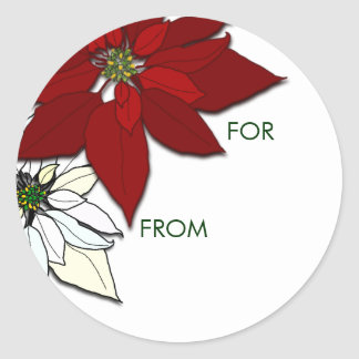 Poinsettias del navidad rojos y pegatinas blancos pegatinas redondas