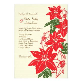 Poinsettias del navidad Vitnage que casan la inv Invitaciones Personales