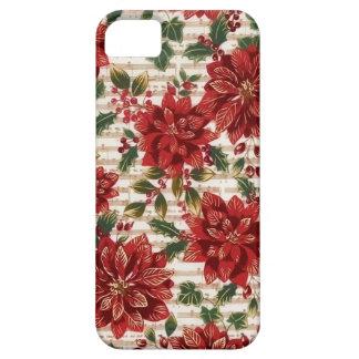 Poinsettias del navidad y caja del teléfono de la funda para iPhone SE/5/5s
