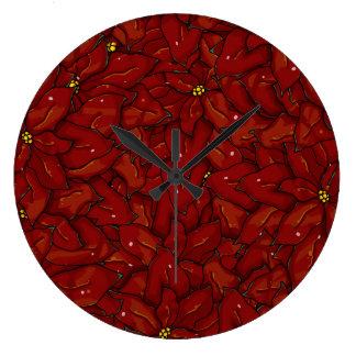 Poinsettias frontales llenos reloj redondo grande
