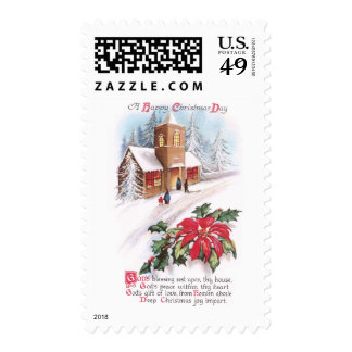 Poinsettias, Holly and Snowy Church Vintage Xmas Postage Stamp