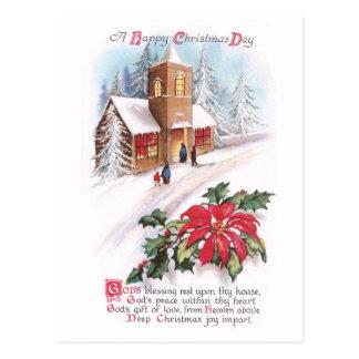 Poinsettias, Holly and Snowy Church Vintage Xmas Post Card