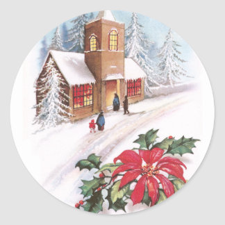 Poinsettias, Holly and Snowy Church Vintage Xmas Stickers