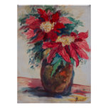 Poinsettias in a Brown Vase Poster