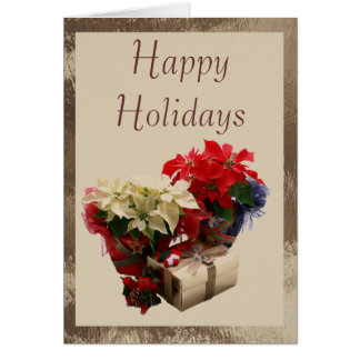 Poinsettias in Stained Glass Card